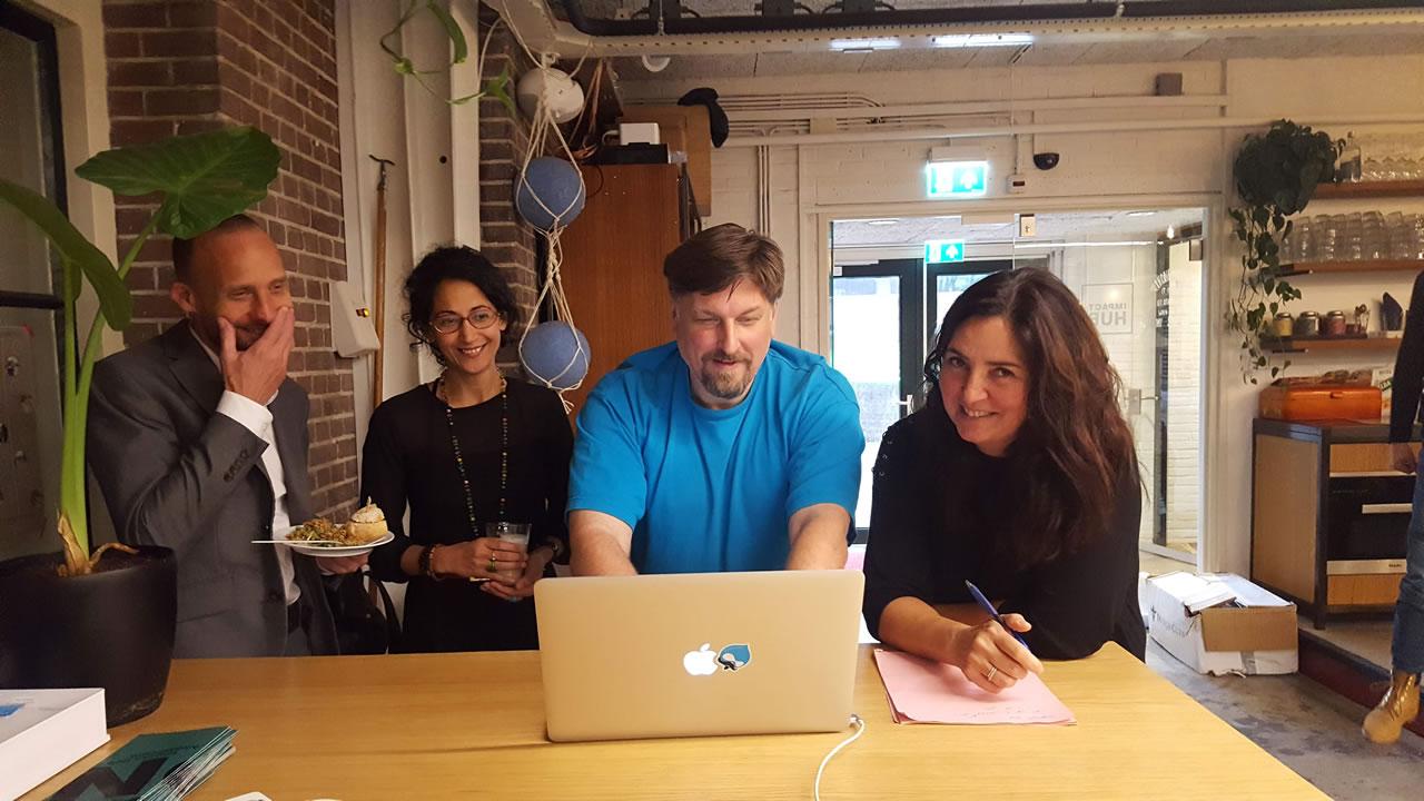 Arthur Brock with Hackathon attendees