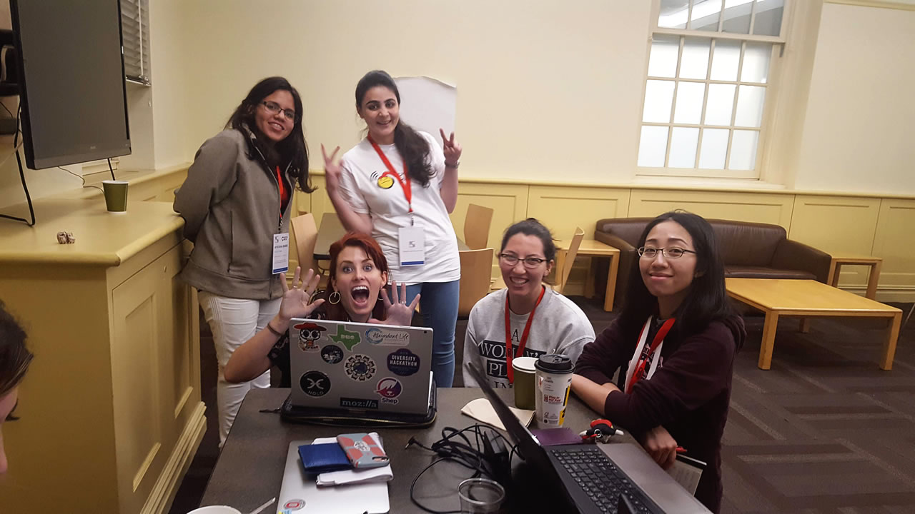 Lisa Jetton with Hackathon attendees